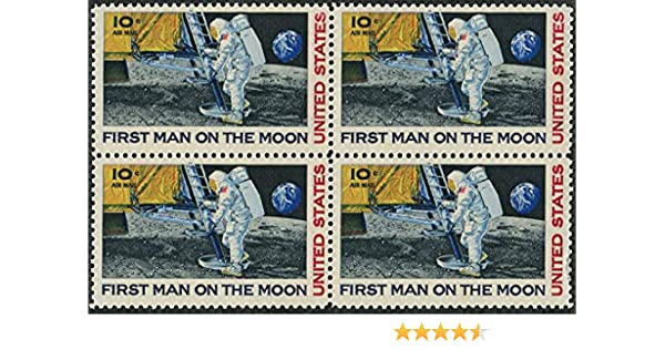 Amazon First Man On The Moon 10 Cent Airmail Block Of Four US Postage Stamps Scott C76 By USPS Toys Games