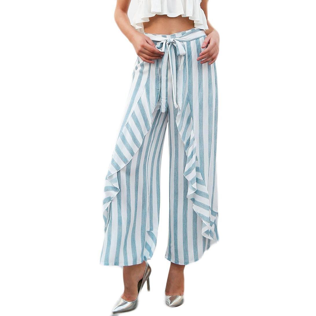 2018 Palazzo Pants,Women Stripe Ruffle Bottom Sash High Waist Wide Leg Beach Trousers by-NEWONSUN