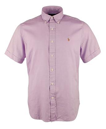 Casual Shirts Men's Clothing New Large Polo Ralph Lauren Mens Short Sleeve Button Down Linen Shirt Top Purple