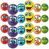 Set of 24 Emoji Face Foam Soft Stress Novelty Toy Balls (2.5'') - Assorted Colors