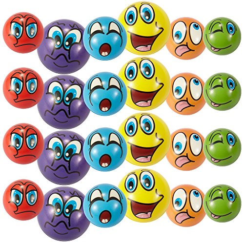Liberty Imports Set of 24 Funny Face Emoji Foam Soft Balls - Finer Exercise Stress Relief Toys (2.5 inches) - Assorted Colors (Liberty Set)