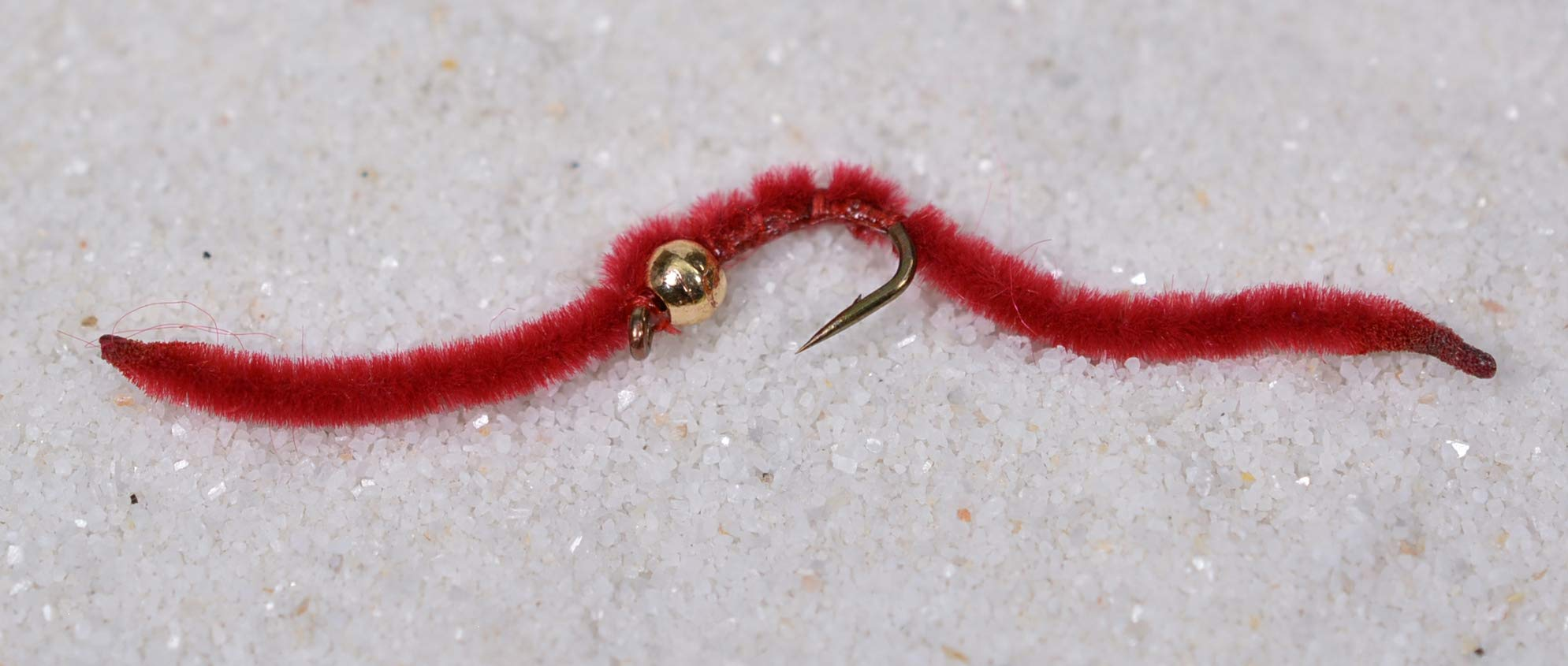 Tungsten Bead Head San Juan Worm Fishing Flies - 1 Dozen on Mustad Signature Fly Hook Size 14 - Red by Region Fishing