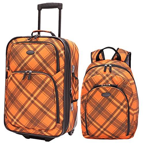 us-traveler-contrast-plaid-2-piece-luggage-set-pink-one-size