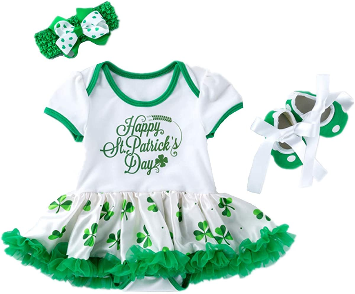 St Patricks Day Newborn Infant Baby Girls Outfit Green Shamrocks Bodysuit Tutu Dress Headband Shoes 3PCS Set