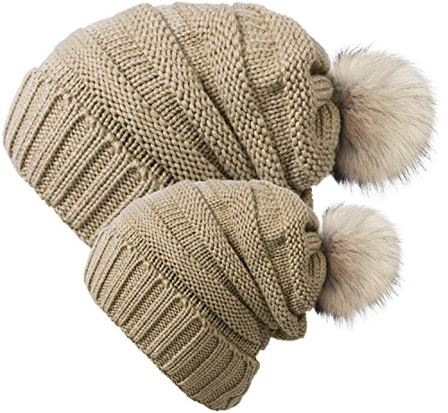 Chalier 2 Pack Winter Warm Knit Baggy Slouchy Pom Pom Beanie Hat for Mom & Baby ()