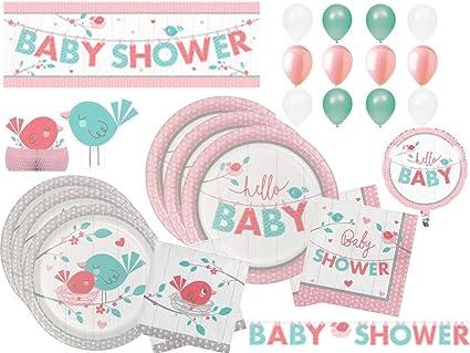 Amazon Com Hello Little Bird Girl Baby Shower Tableware