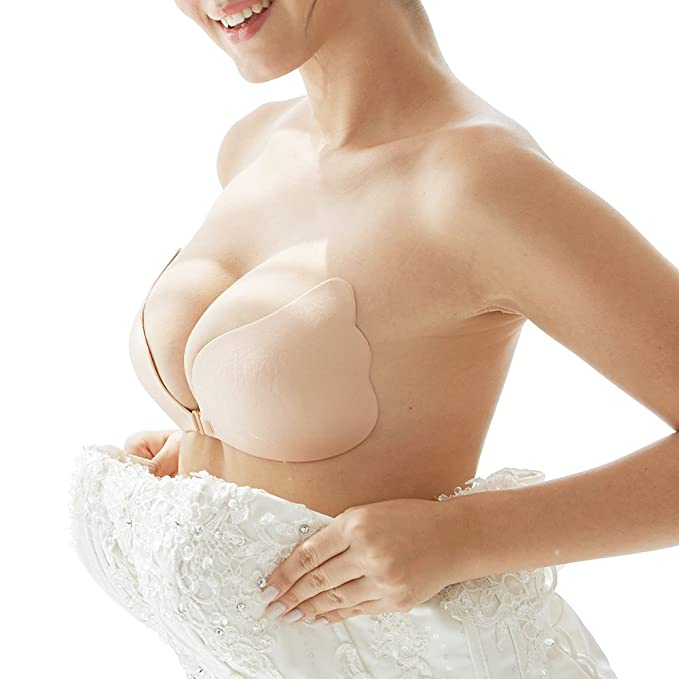c62d414ee4efe Strapless Seamless Push Up Silicone Self Adhesive Reusable Padded Invisible  bra  Amazon.co.uk  Clothing