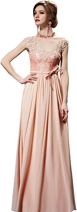 1dd90dadf7a4b Coniefox Women's Fabulous Appliques Sleeveless Lace Prom Dress ...