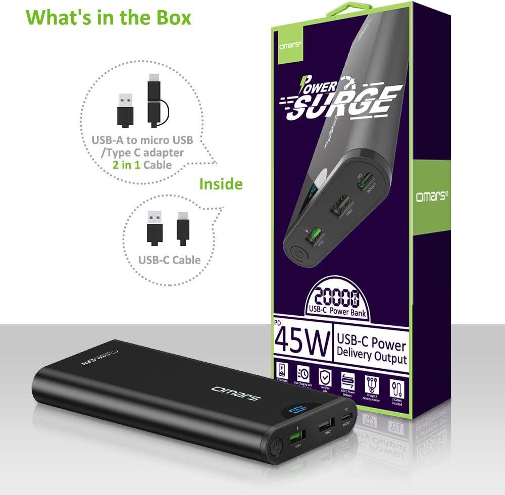 USB A 18W /& 12W Power Bank Portable en Aluminium pour iPhone MacBook Pro Nitendo Switch T/él/éphone Tablette Ordinateur Omars Batterie Externe 24000mAh Grande Capacit/é Puissante 3 Sorties 45W USB C PD