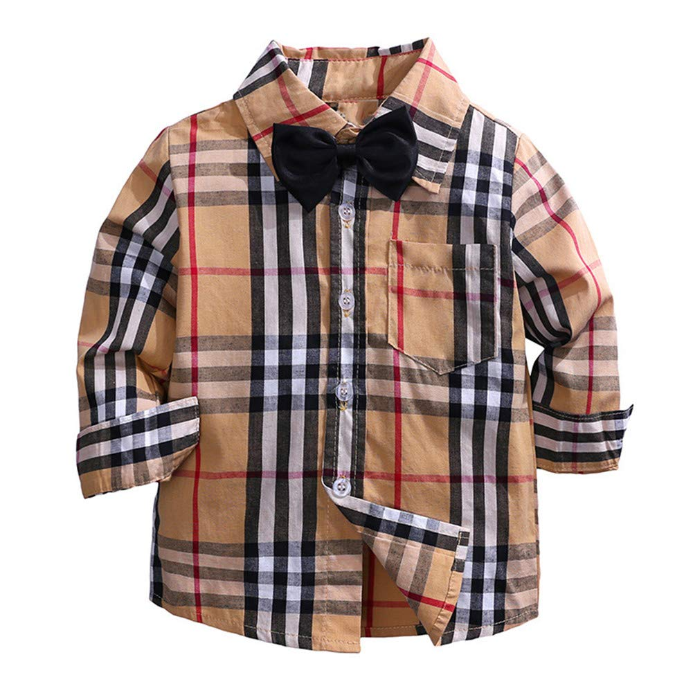 LOOLY Baby Boys Long Sleeve Button Down Plaid Flannel Shirt with Tie LOOLYTZ00429