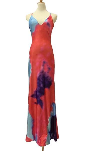 Haroty Largos Vestido Tirantes Sin Espalda Backless Estampado Informal Ajustados para Mujeres Verano Playa Rockabilly Cocktail