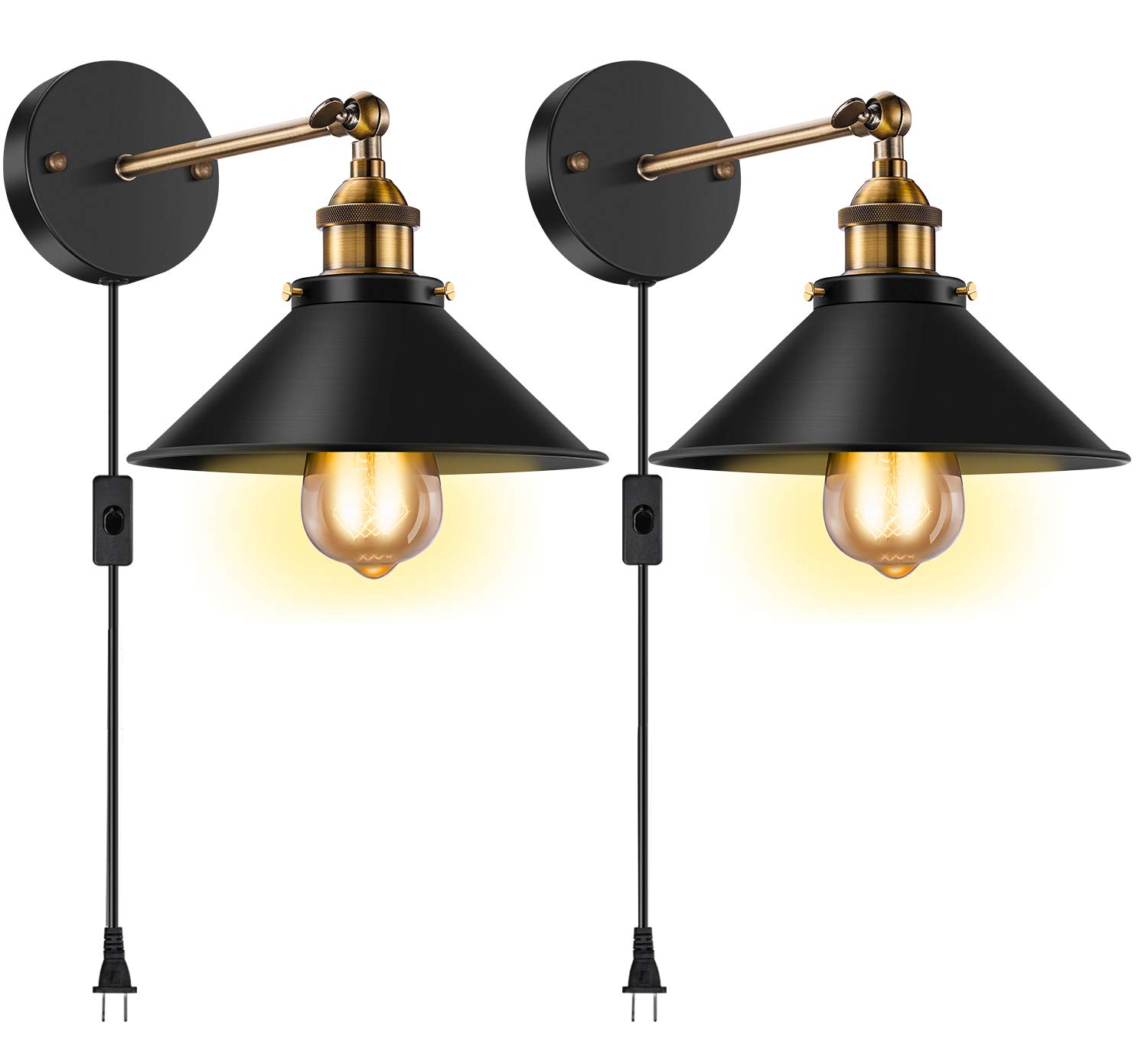 Licperron Vintage Style Wall Sconce Plug in E26 E27 Edison Antique 240 Degree Adjustable Industrial Wall Light with On/Off Switch for Restaurants Bathroom Dining Room Kitchen Bedroom 2 Pack(Hardwired)