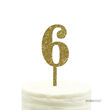Andaz Press 6th Birthday And Anniversary Acrylic Cake Toppers Gold Glitter Number 6