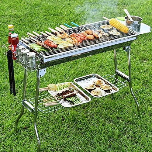 Barbecue Grill, Barbecue Grill, Barbecue Barbecue Au Charbon De Bois Portable, Barbecue Fumoir Pliable en Acier Inoxydable, pour Pique-Nique Jardin Terrasse Camping Voyage