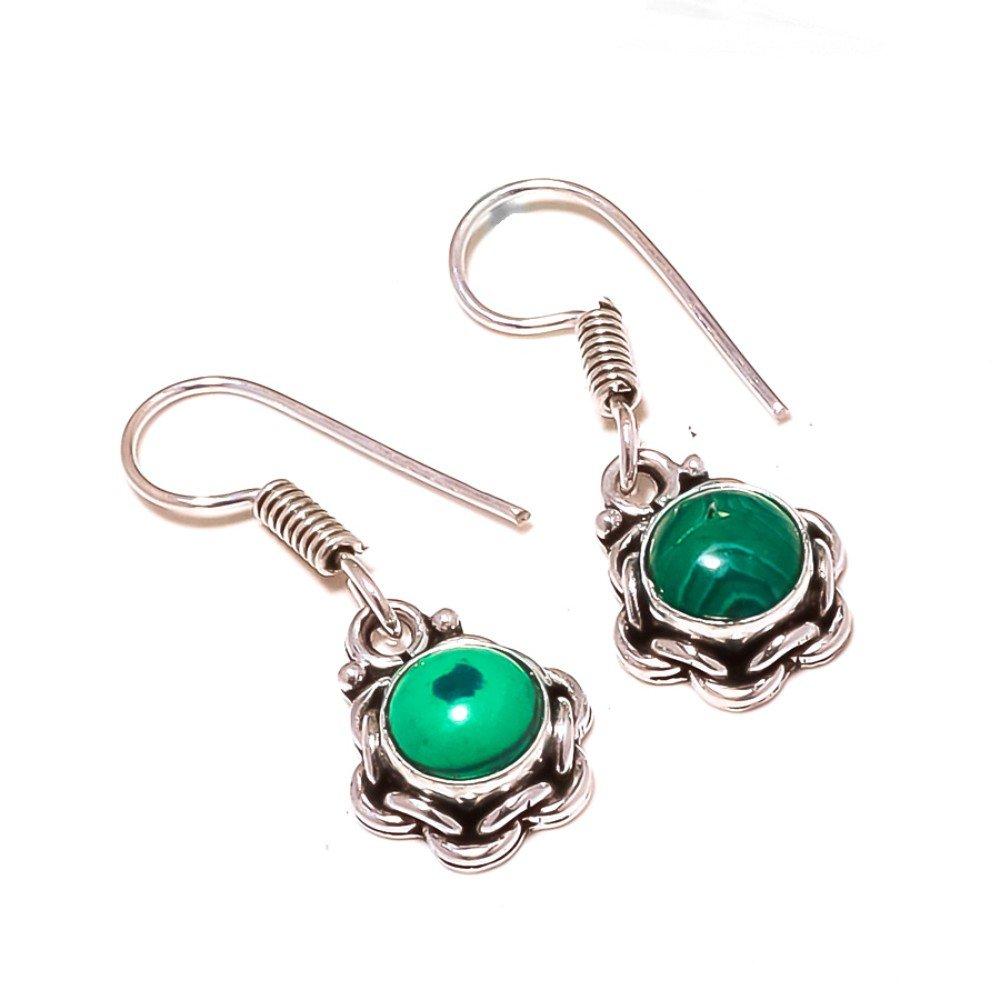 Light Weight Green Malachite Sterling Silver Overlay 5 Grams Earring 1.25 Long