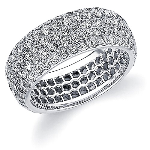 (Platinum Diamond Micro Pave Eternity Ring (3.0 cttw, F-G Color, VVS1-VVS2 Clarity) Size 7)