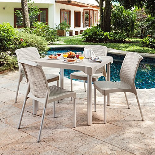 Weather-Resistant Shia Patio Dining Set featuring Four Woven Resin Wicker Stackable Chairs, Taupe Finish