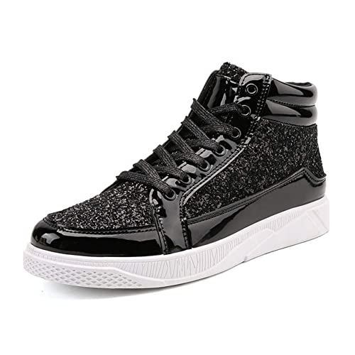 d942f1c69d52 Mens High-top Sneakers Fashion Sequined Ankle Boots Bling Side Zipper  Sports Shoes Young Casual