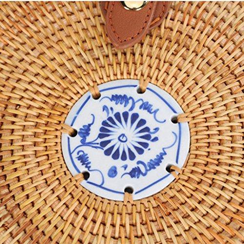 Bolso Vintage Hombro de Playa Señora Homyl Mano Verano de de de Bolso Tejido Elegante para de 06 Redondo Ratán Bolsa Retro Vietnam a A44xOqHdw