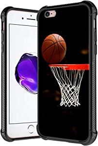 iPhone 6s Plus Case,Basketball Hoop Pattern Tempered Glass iPhone 6 Plus Cases for Boys Man,Soft TPU Bumper Desgin Anti-Scratch Shockproof Cover Compatible with iPhone 6/6s Plus
