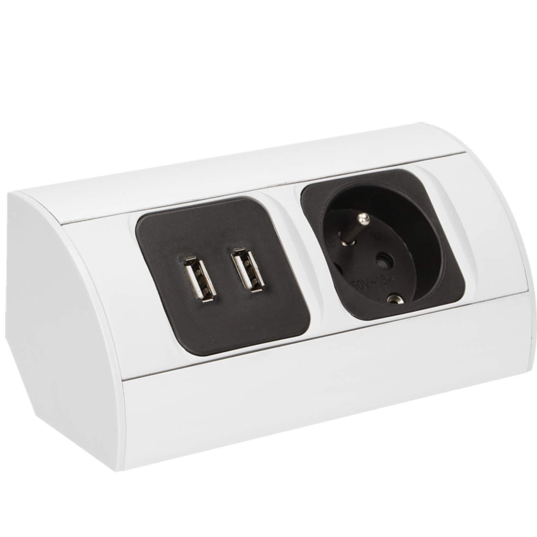 Bloc prises cuisine avec 2 prises USB pour charger vos appareils Orno