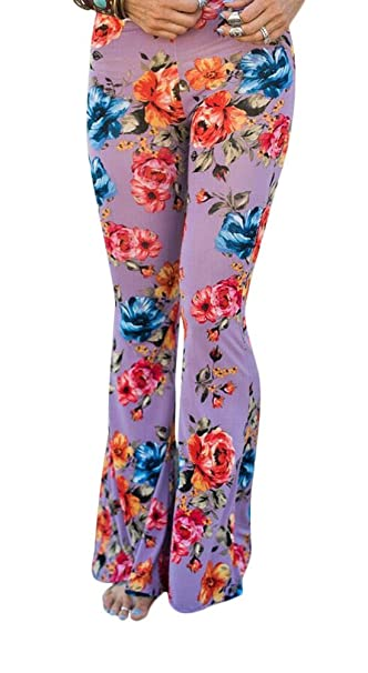 7454a740f06 Women s Boho Flare Wide Leg Pants Floral Print Bell Bottom Palazzo Pants  Trousers Pink S