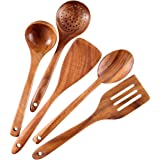 Healthy Cooking Utensils Set,Tmkit Wooden Cooking Tools and storage wooden barrel- Natural Nonstick Hard Wood Spatula and Spo