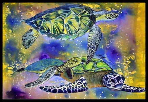 Multicolor 18 x 27 Carolines Treasures 8394MAT Turtle Indoor or Outdoor Mat