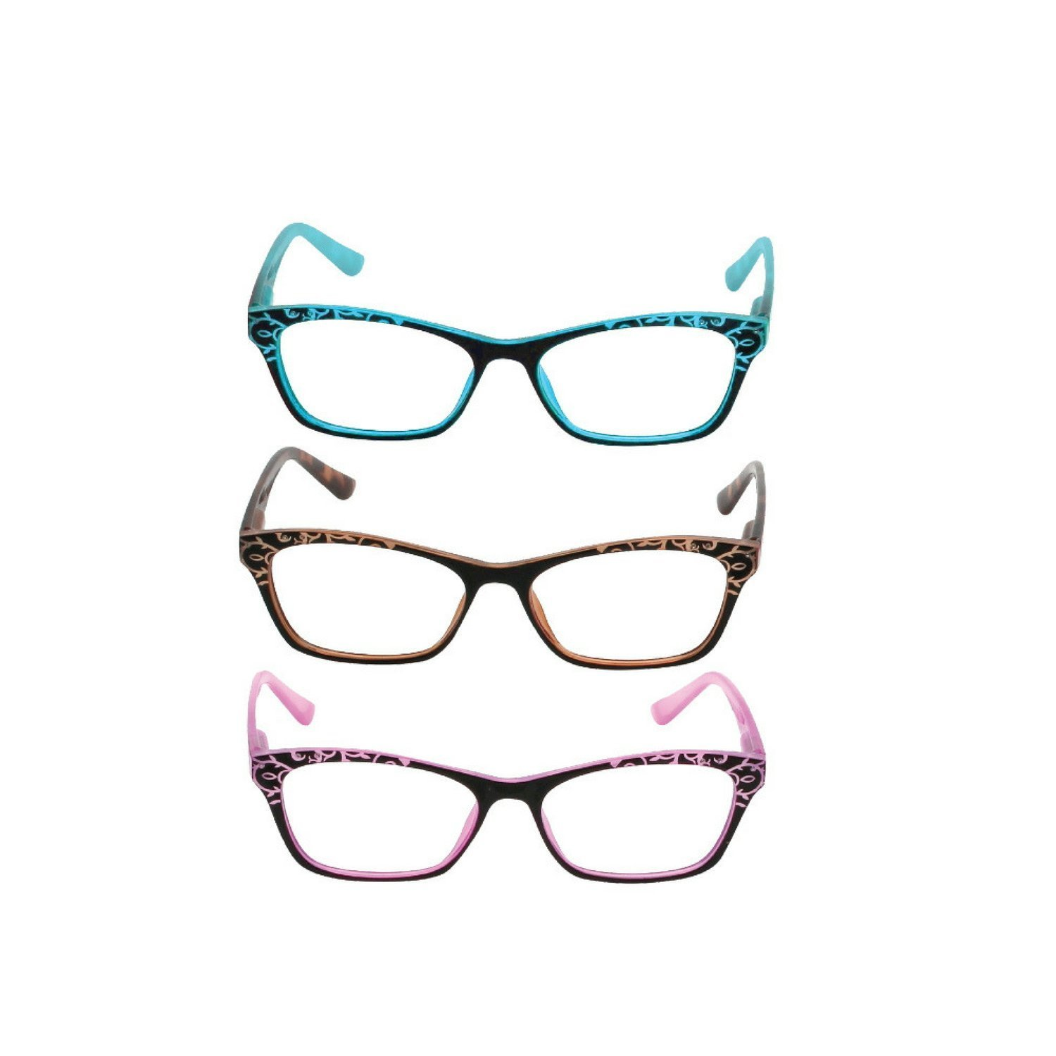Marc de Rez 3 Pack Reading Glasses for Women – DÉLICIOUS COLLECTION - Elegant Design Anti-Reflective Coating and Blue Light Blocking, 1.50