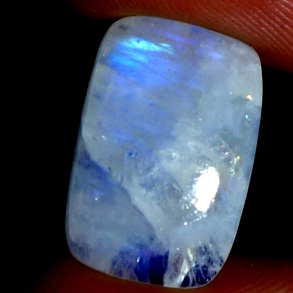 Handmade 18.00Cts.100% NATURAL RAINBOW MOONSTONE CUSHION CABOCHON ~FINE QUALITY~ GEMSTONE