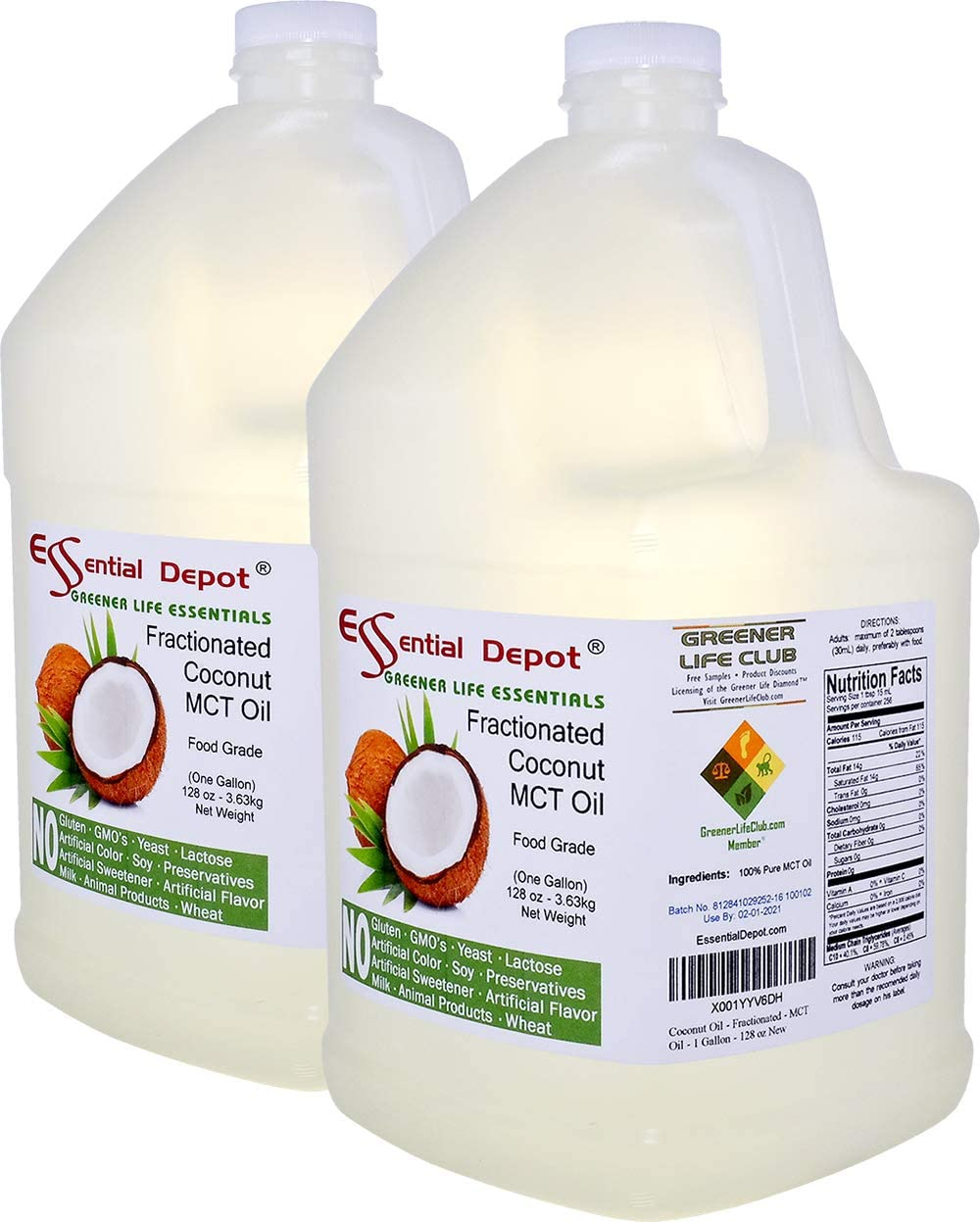 Coconut Oil - Fractionated - MCT Oil - Food Grade - 2 Gallons - 256 oz - 2 x 1 Gallon Containers -