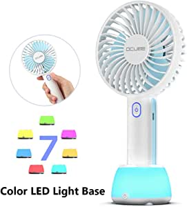 Color : Blue, Size : Free Size Liweibao-Electronics Mini Portable Fan 3 Speeds Handheld Mini Fan USB Powered Or Rechargeable 800 MAh Battery 3 Colors for Travel Camping USB Fan for Travel Office