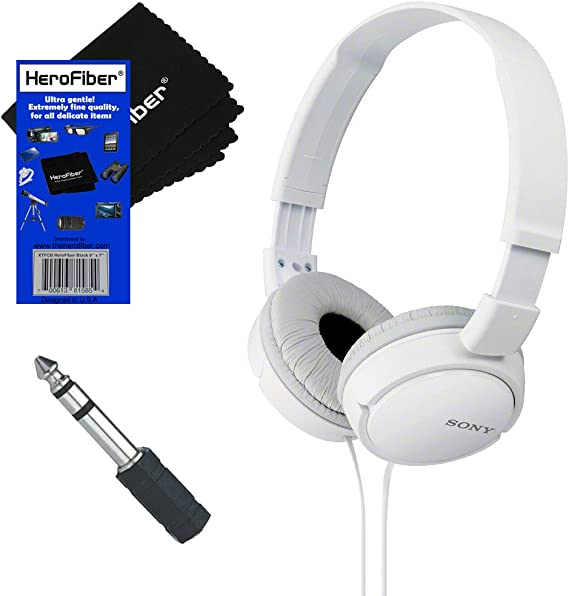 Sony MDRZX110 ZX Series Stereo Headphones (White) with 3.5mm Mini Plug to 1/4 inch Headphone Adapter & HeroFiber Ultra Gentle Cleaning Cloth