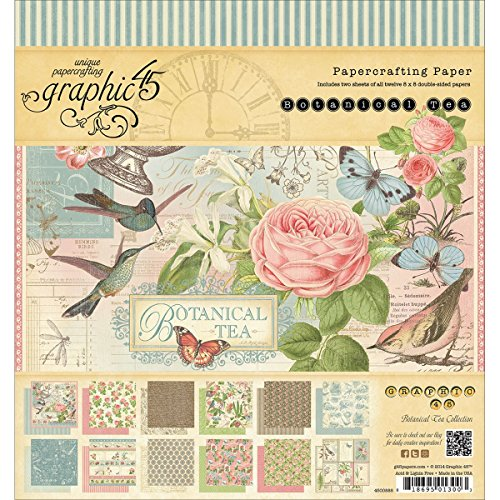 - Graphic 45 Botanical Tea Pad for Scrapbooking, 8 by 8-Inch