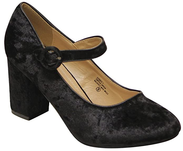 Edwardian Shoes & Boots  mary jane chunky heel velvet pumps shoes $27.99 AT vintagedancer.com