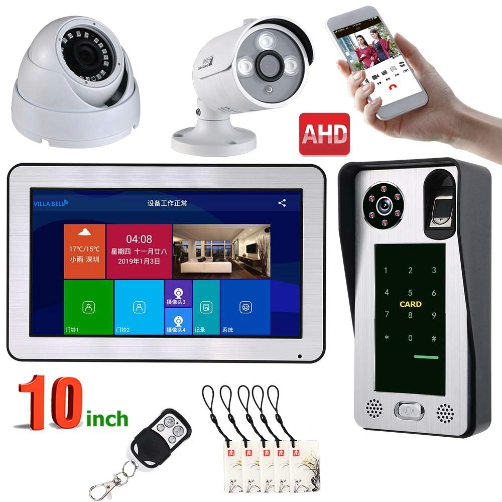 JINPENGPEN 10 inch WiFi Intelligent Video intercom Access Control System Fingerprint IC Card Video Door and Security Camera
