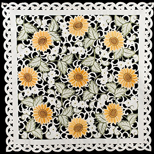 Linens, Art and Things Embroidered Table Topper Doily Table Centerpiece Small Tablecloth Open Weave Cut Work Sunflower and White Daisy on Ivory Approx 33