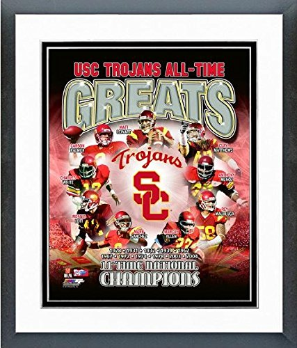 """USC Trojans All Time NCAA Greats Composite Photo (Size: 12.5"""" x 15.5"""") Framed"""