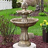 Sunnydaze Two Tier Solar-Power Outdoor Water Fountain, Earth Finish, 35 Inch Tall