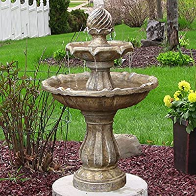 Sunnydaze 2-Tier Solar Powered Outdoor Water Fountain with Battery Backup - Outdoor Garden and Patio Decor Waterfall Feature - Earth Finish - 35 Inch - PERFECT SIZE WATER FEATURE: 23 inch diameter x 34.5 inches tall and weighs 30 pounds; 10-inch diameter base; Solar panel measures 8.6 inches high x 7.4 inches long; Recommended water capacity of 3 gallons ENGINEERED TO LAST: Constructed of durable resin and fiberglass to ensure that it is long lasting; Solar panel is small enough to easily mount to nearly any surface INCLUDES: Solar panel with rechargeable battery pack, compatible submersible water pump, and 16 foot power cord so it can be installed in a convenient location - patio, outdoor-decor, fountains - 616VN%2BZ4t1L. SS400  -