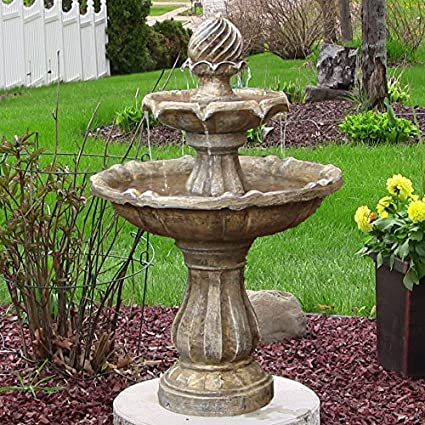 Ordinaire Sunnydaze Two Tier Solar Power Outdoor Water Fountain, Earth Finish, 35  Inch Tall