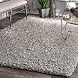 nuLOOM Contemporary Marleen Solid Shag Area Rug, Silver, 4' x 6'