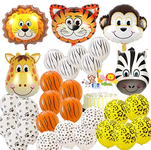 Jungle Safari Animal Balloons 69 Pack Safari Zoo Animals Party Supplies Jungle Birthday Party Favors Baby Shower Decorations Animal Cake Topper