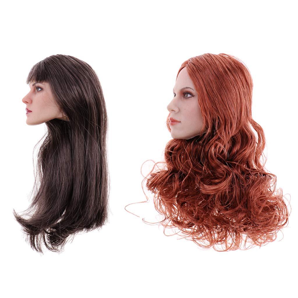 B Blesiya 2 Piezas Escala 1/6 Modelo de Cabeza Esculpida con Pelo Largo Negro Rojo para 12 Pulgadas Figura Femenina de Acción