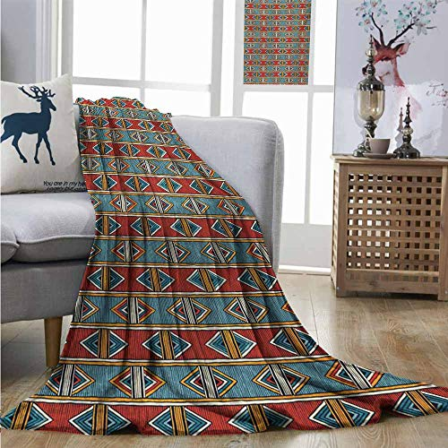 Homrkey Cozy Blanket Kente Pattern Tribal Traditional Triangles and Stripes Indigenous Native Cultural Heritage Summer Blanket W70 xL84 Multicolor