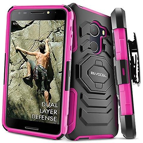 T-Mobile REVVL Case, Evocel [New Generation] Rugged Holster Dual Layer Case [Kickstand][Belt Swivel Clip] For Alcatel Walters / T-Mobile REVVL (5049W), Pink (Evocel Case Alcatel)