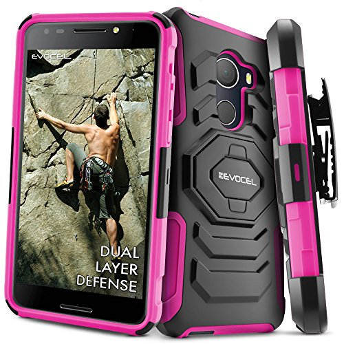 T-Mobile REVVL Case, Evocel [New Generation] Rugged Holster Dual Layer Case [Kickstand][Belt Swivel Clip] For Alcatel Walters / T-Mobile REVVL (5049W), Pink (EVO-ALWALTERS-XX05)