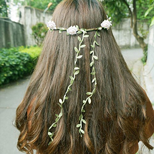 Mode de mariage Bandeau Couronne cheveux Fleurs artificielles Wreath, Rose Rouge