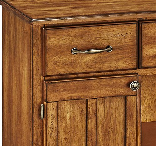 Home Styles Black Server With Cottage Oak Wood Top - Large 3 utility drawers Open storage space - sideboards-buffets, kitchen-dining-room-furniture, kitchen-dining-room - 616VOU4uS7L -