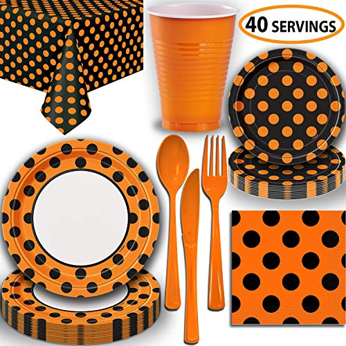 Halloween Party Supplies - Serves 40 - Black and Orange Dots - Large and Small Paper Plates, 12 oz Plastic Cups, Heavyweight Cutlery, Napkins, and Tablecloths. Full Two-Tone Tableware Set ()
